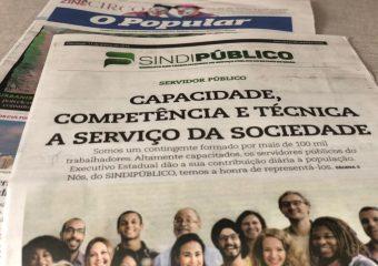 Caderno do SINDIPÚBLICO publicado em O Popular valoriza trabalho e competência do servidor público em Goiás