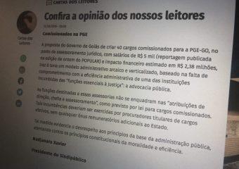 Em O Popular, SINDIPÚBLICO contesta proposta de criação de cargos comissionados na PGE