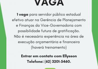 Aviso de vaga na Gerência de Planejamento e Finanças da Vice-Governadoria
