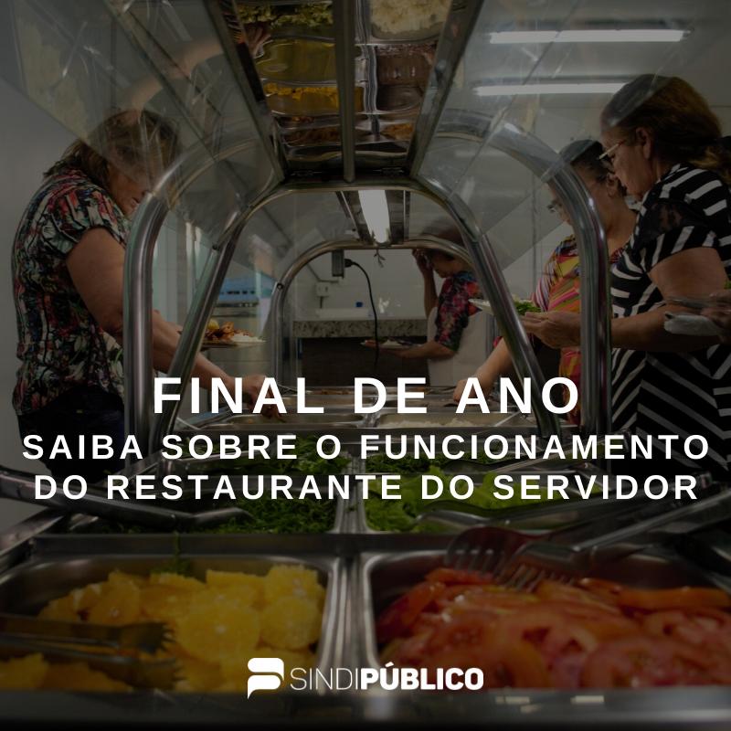 Restaurante do Servidor não funcionará nesta sexta e nos dias 02 e 03 de janeiro