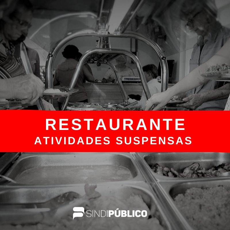 RESTAURANTE DO SERVIDOR – ATIVIDADES SUSPENSAS TEMPORARIAMENTE