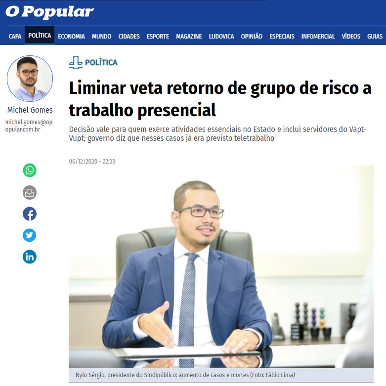 O POPULAR DESTACA A LIMINAR CONCEDIDA AO SINDIPÚBLICO