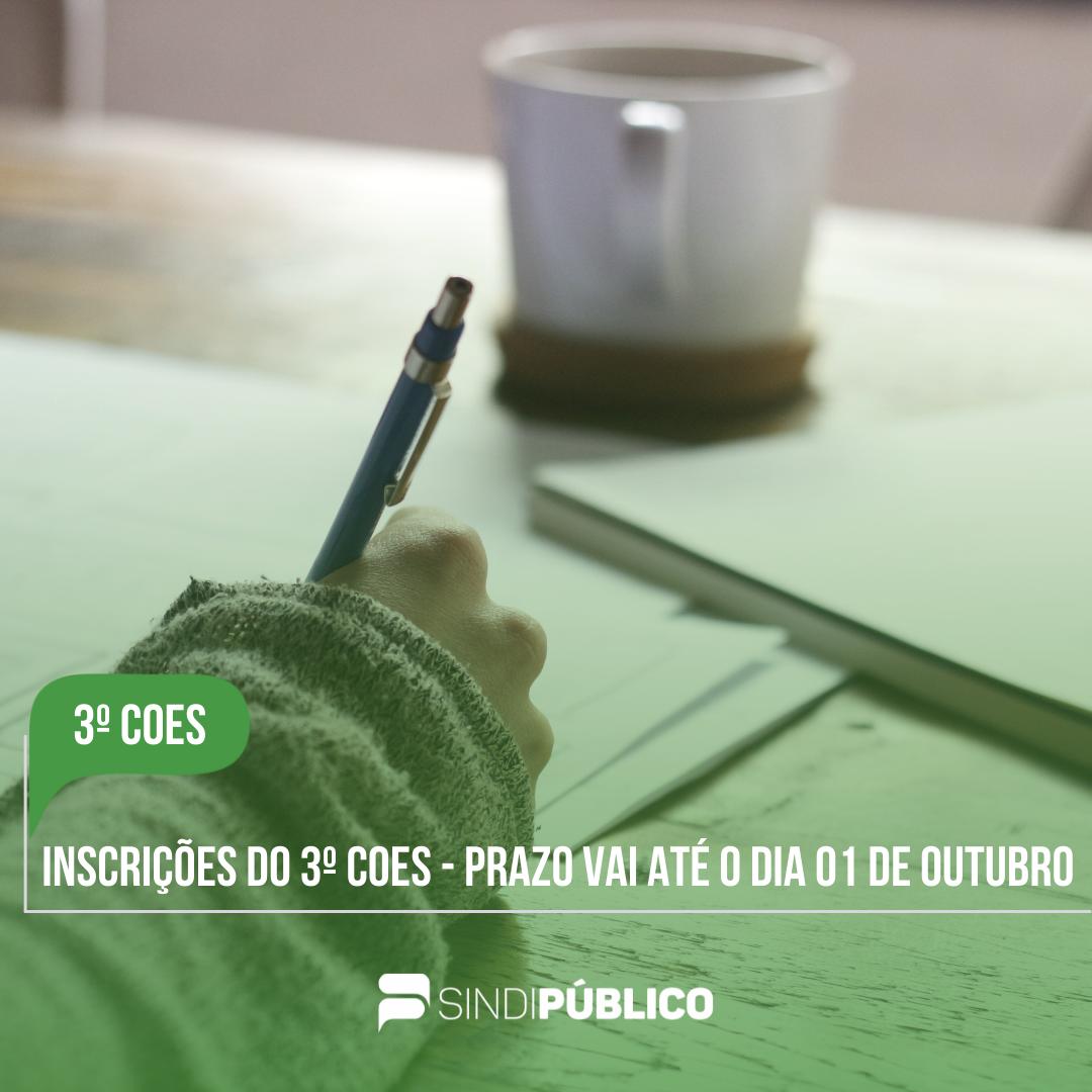 INSCRIÇÕES PARA PARTICIPAÇÃO NO 3º COES VÃO ATÉ O DIA 01 DE OUTUBRO